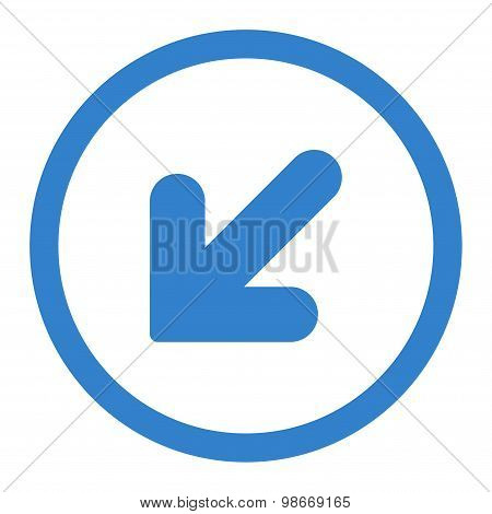 Arrow Down Left flat cobalt color rounded vector icon