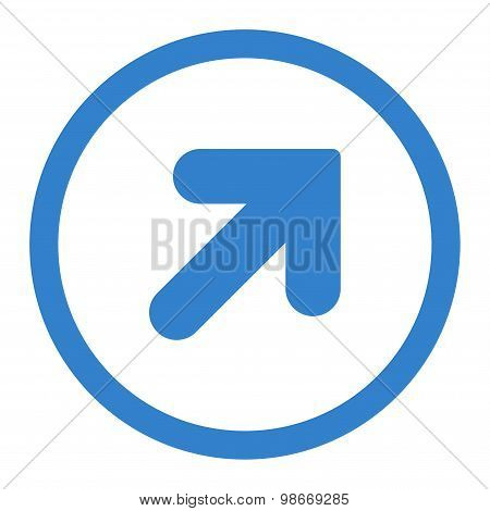 Arrow Up Right flat cobalt color rounded vector icon