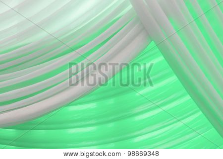 Luxury Sweet White And Green Or Aqua Curtain