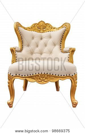 Old Vintage Leather Classic Armchair Isolated On White Background