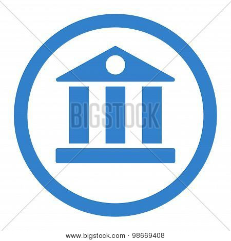 Bank flat cobalt color rounded vector icon