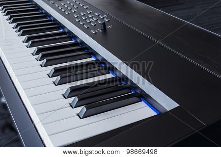 Piano Keyboard Synthesizer Closeup Key Frontal View