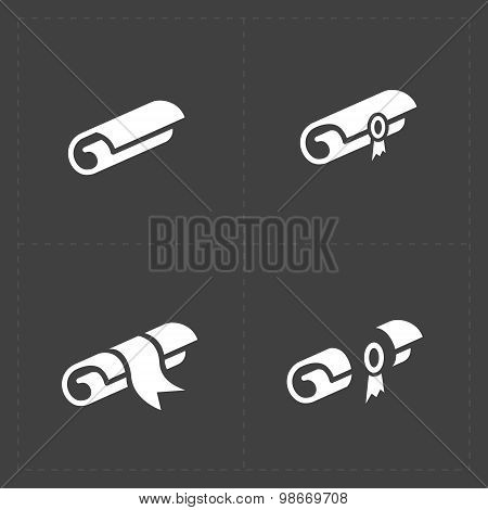 Scrolls icons with ribbon on Dark Background