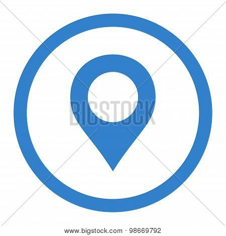 Map Marker flat cobalt color rounded vector icon