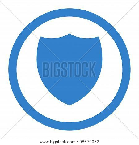 Shield flat cobalt color rounded vector icon