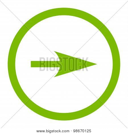 Arrow Axis X flat eco green color rounded vector icon