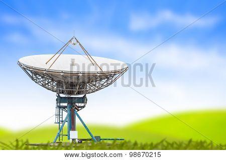Satellite Dish Antenna Radar Big Size And Blue Sky Grass Background