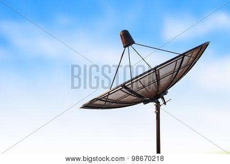 Satellite Dish Antenna Radar And Blue Sky Background