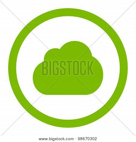 Cloud flat eco green color rounded vector icon
