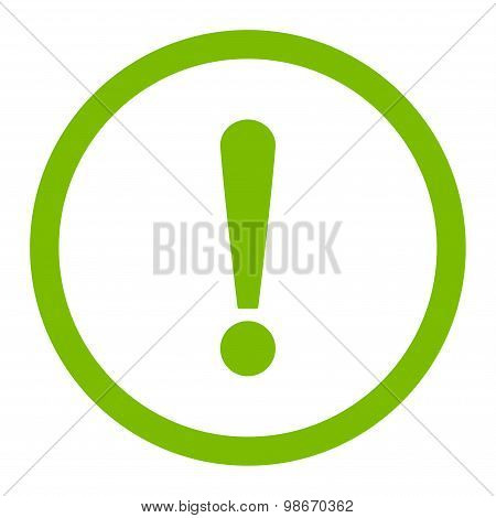 Exclamation Sign flat eco green color rounded vector icon