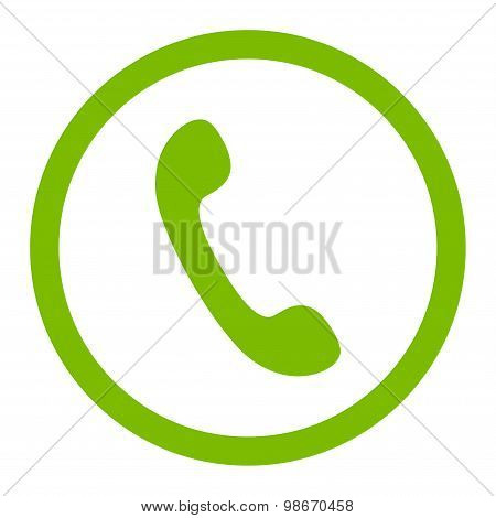 Phone flat eco green color rounded vector icon
