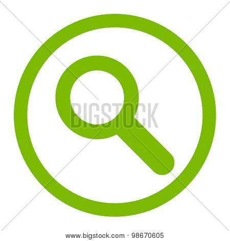 Search flat eco green color rounded vector icon