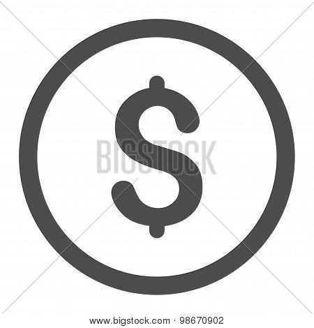 Dollar flat gray color rounded vector icon