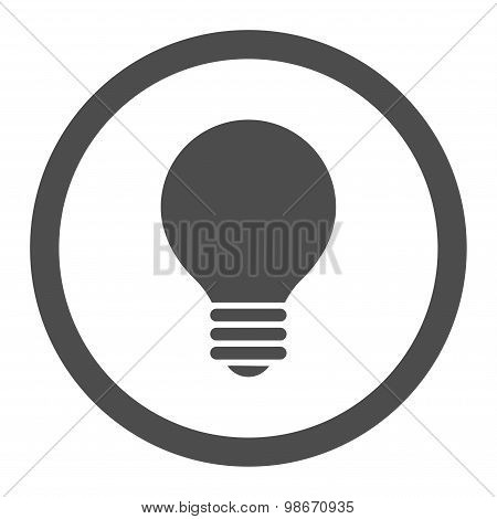 Electric Bulb flat gray color rounded vector icon
