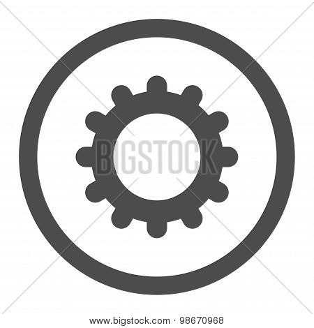 Gear flat gray color rounded vector icon