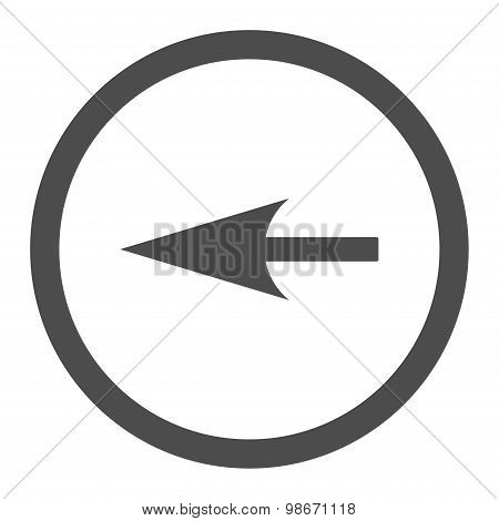 Sharp Left Arrow flat gray color rounded vector icon