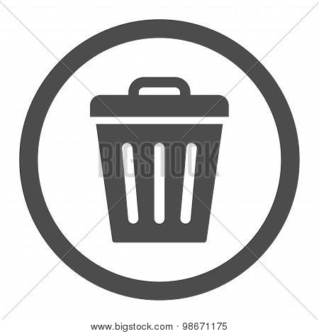 Trash Can flat gray color rounded vector icon