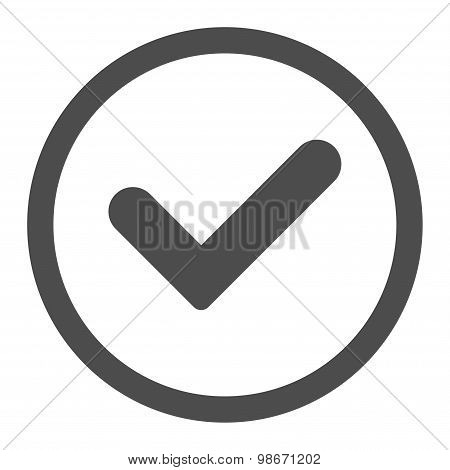 Yes flat gray color rounded vector icon