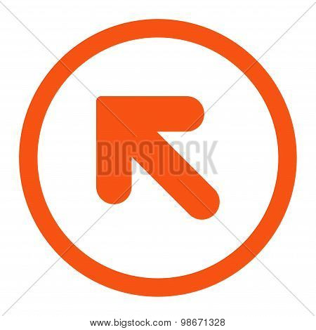 Arrow Up Left flat orange color rounded vector icon
