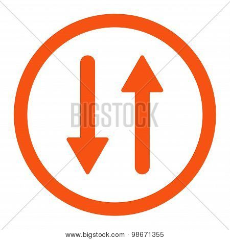 Arrows Exchange Vertical flat orange color rounded vector icon