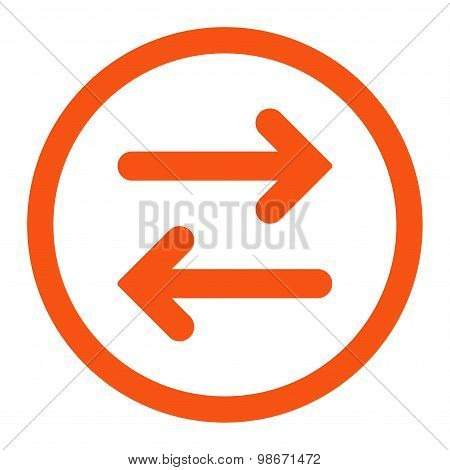 Flip Horizontal flat orange color rounded vector icon