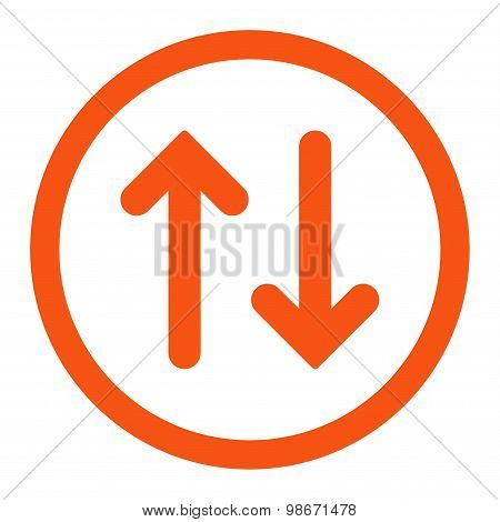 Flip flat orange color rounded vector icon