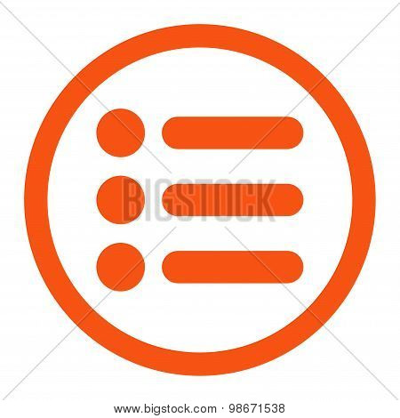 Items flat orange color rounded vector icon