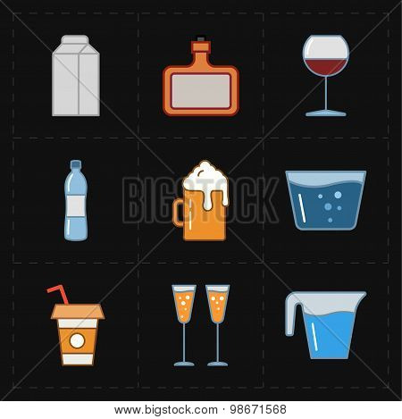 9 modern flat bar icons