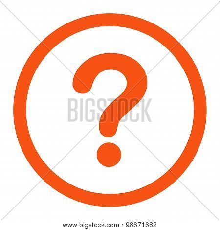 Question flat orange color rounded vector icon