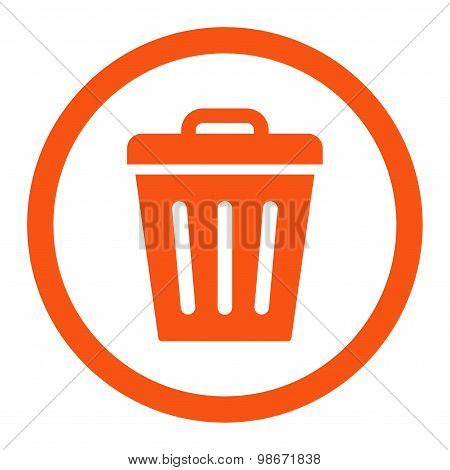 Trash Can flat orange color rounded vector icon