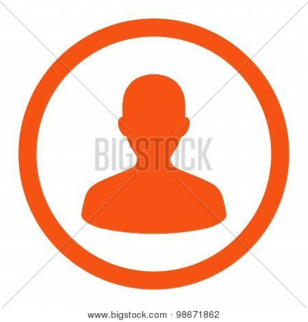 User flat orange color rounded vector icon