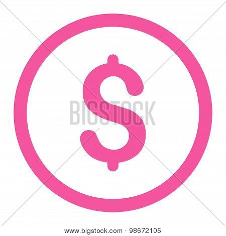 Dollar flat pink color rounded vector icon
