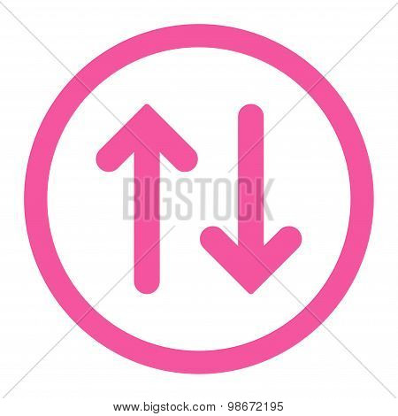 Flip flat pink color rounded vector icon