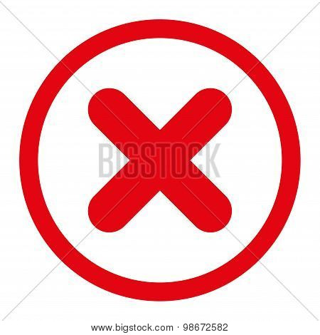 Cancel flat red color rounded vector icon