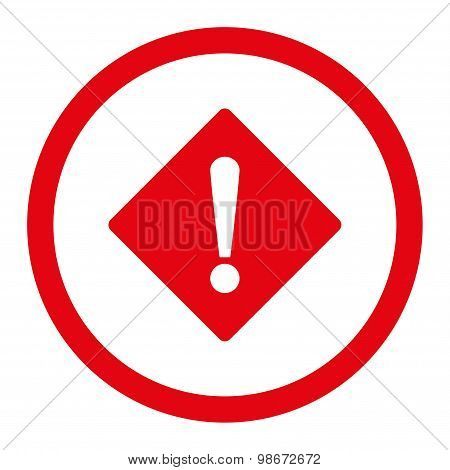 Error flat red color rounded vector icon