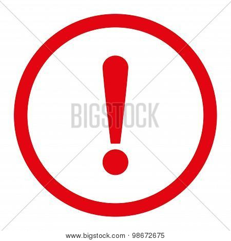 Exclamation Sign flat red color rounded vector icon