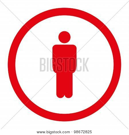Man flat red color rounded vector icon