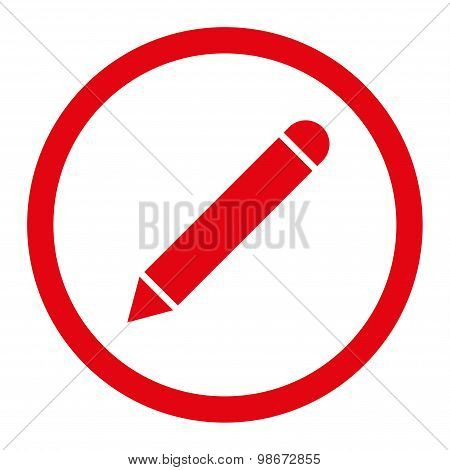Pencil flat red color rounded vector icon