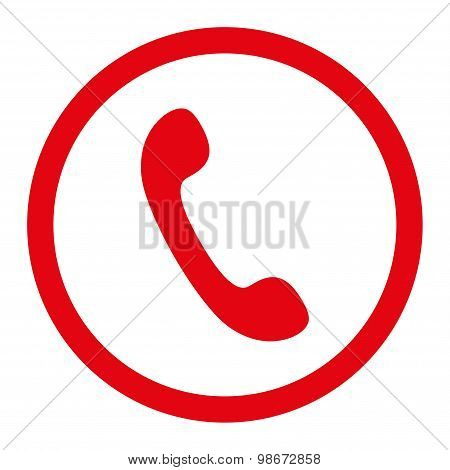 Phone flat red color rounded vector icon