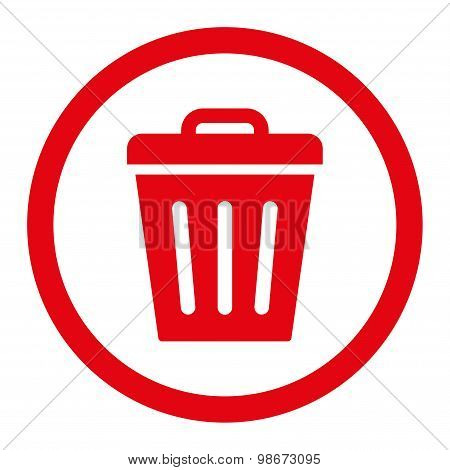 Trash Can flat red color rounded vector icon