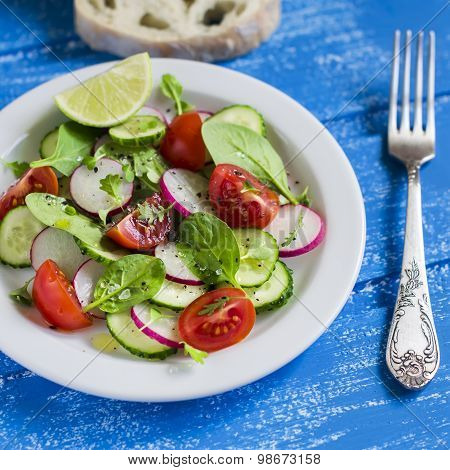 Fresh Vegetable Salad With Cherry Tomatoes, Cucumber, Radish And Spinach On A White Plate On Blue Wo