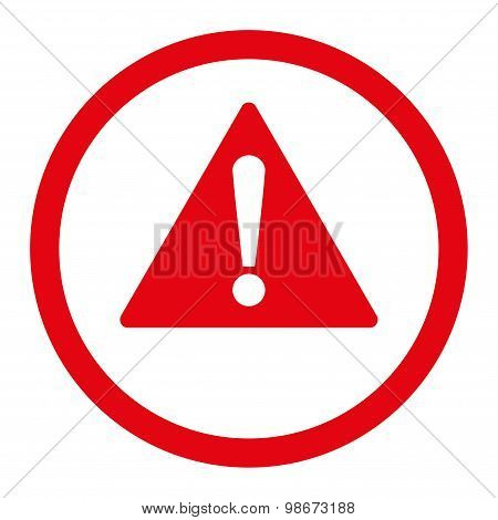 Warning flat red color rounded vector icon