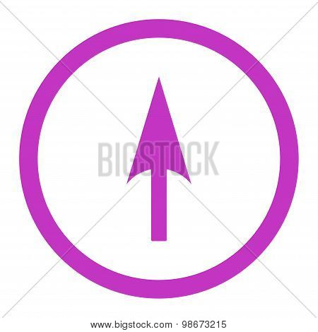 Arrow Axis Y flat violet color rounded vector icon