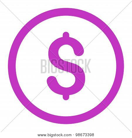 Dollar flat violet color rounded vector icon