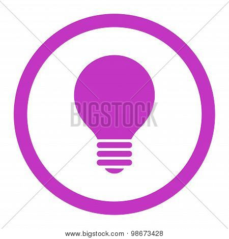Electric Bulb flat violet color rounded vector icon