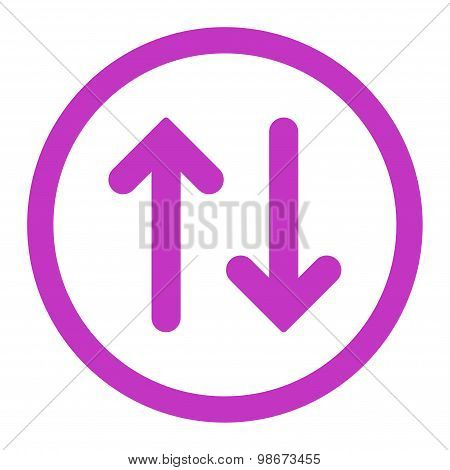 Flip flat violet color rounded vector icon
