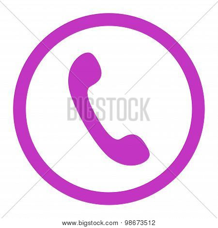 Phone flat violet color rounded vector icon