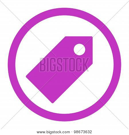 Tag flat violet color rounded vector icon