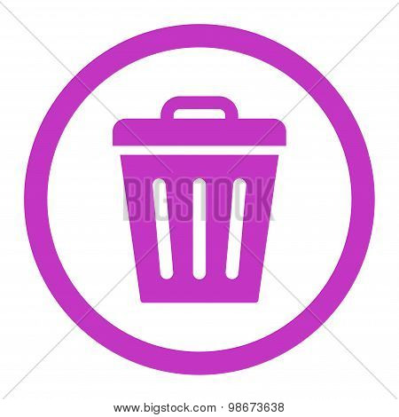 Trash Can flat violet color rounded vector icon