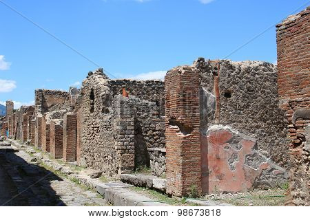 Street Of Ruins In Pompeii